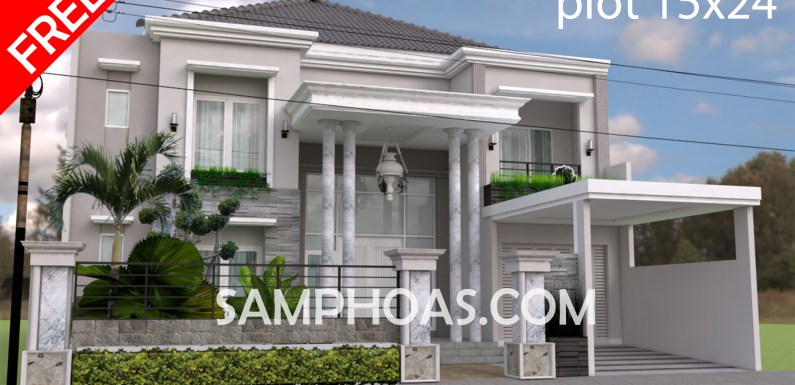 Sketchup Free House Elevation Plan 15x24m