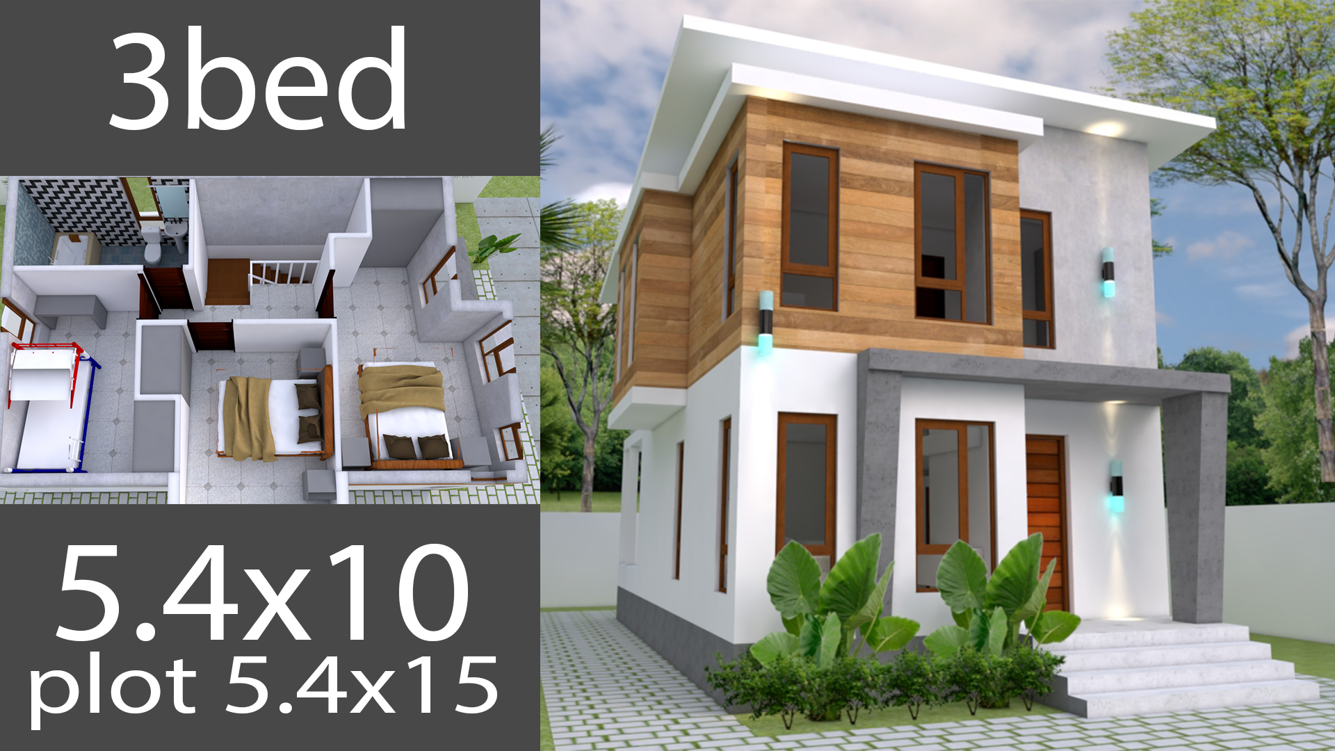 Small Home design Plan 5.4x10m with 3 Bedroom - SamPhoas Plan