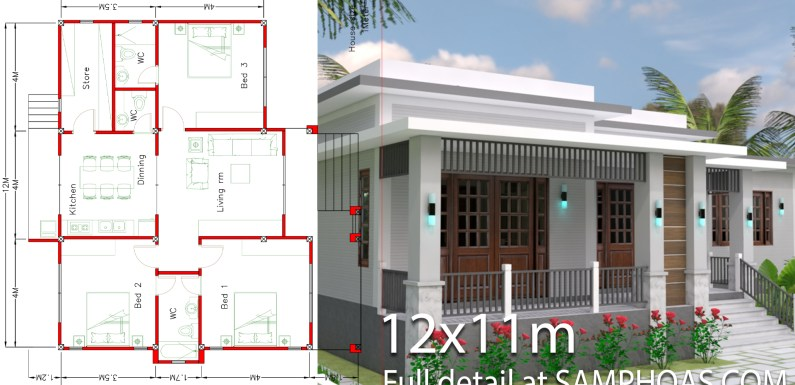 House Design with Full Plan 12x11m 3 Bedrooms