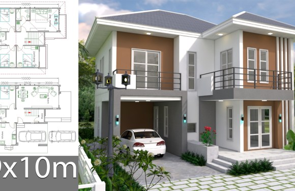 House Plans Design 9x10m with 5 bedrooms
