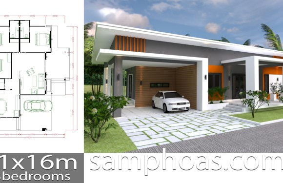 House Plan 11x16m with 3 bedrooms