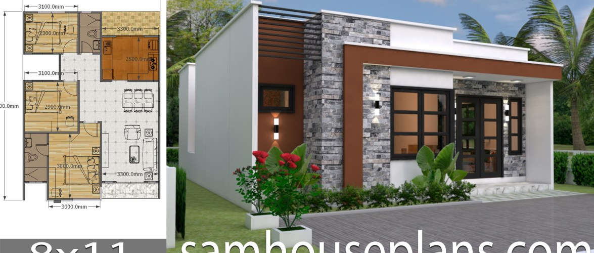 House Plans 8×11 with 3 bedrooms