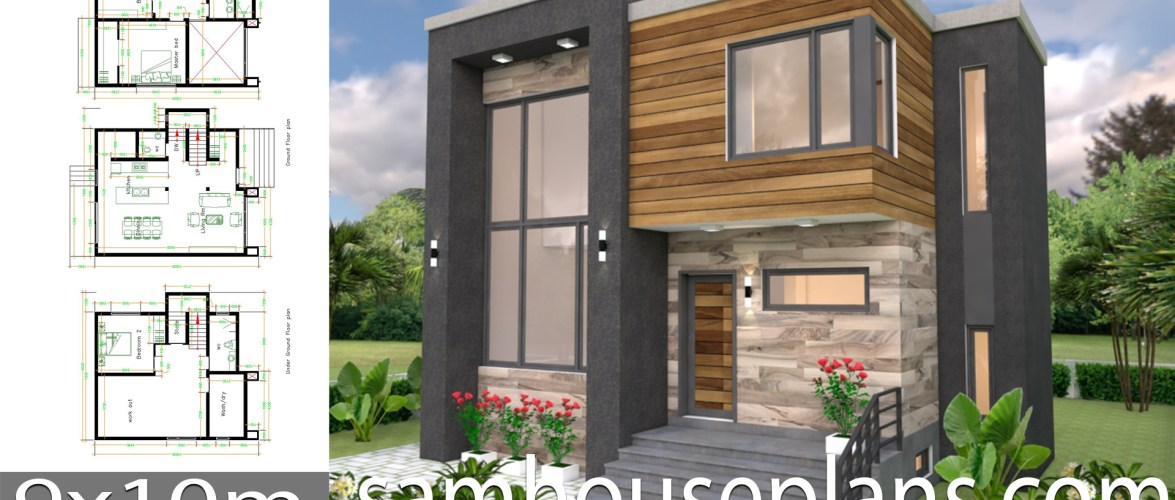 House Plans 9×10 with 3 Bedrooms