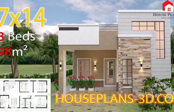 House Design plans 7×14 with 3 Bedrooms