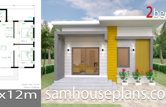 House Plans 7.5×11 with 2 Bedrooms Full plans