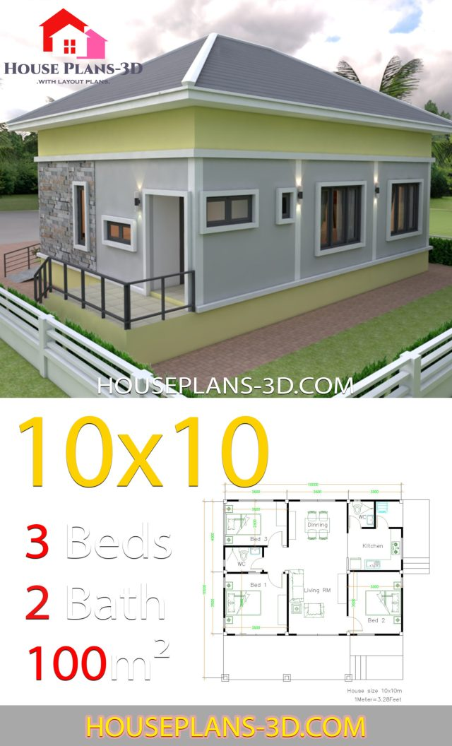 10x10 Bedroom Plans: House Plans Design 10x10 With 3 Bedrooms Hip Roof