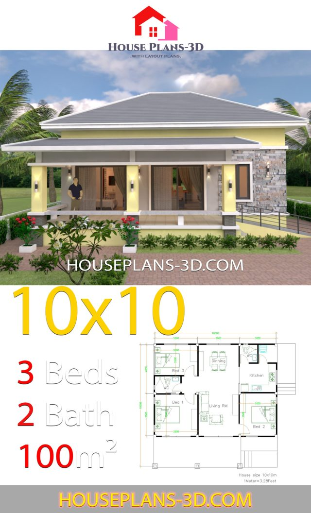 10x10 Room Layout: House Plans Design 10x10 With 3 Bedrooms Hip Roof