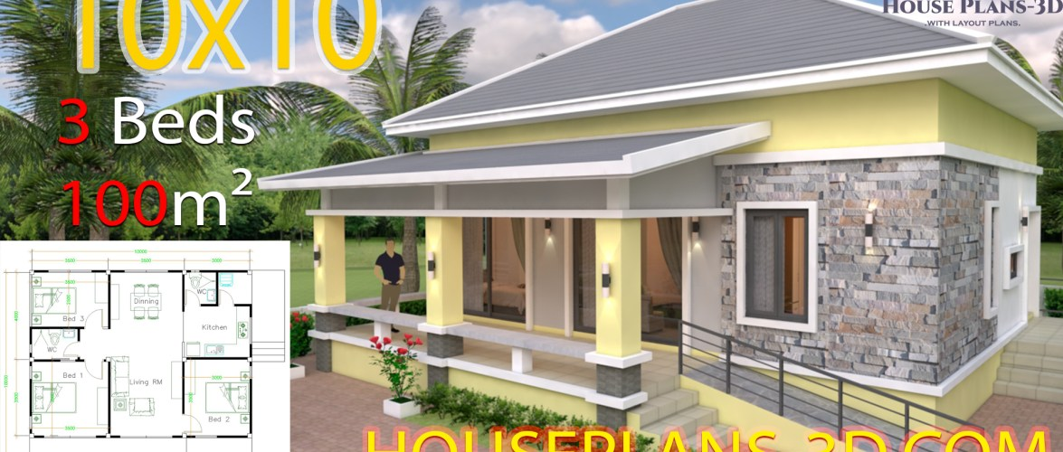 House Plans Design 10×10 with 3 Bedrooms Hip Roof