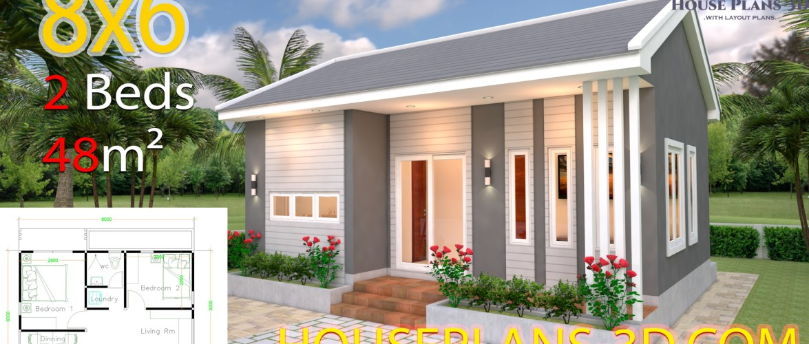 House Design 8×6 with 2 Bedrooms Hip roof