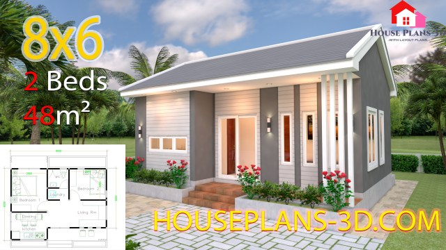 House Design 8x6 With 2 Bedrooms Hip Roof Samphoas Plan