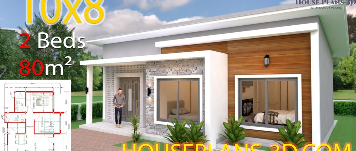 House Design Plans 10×8 with 2 Bedrooms Shed Roof