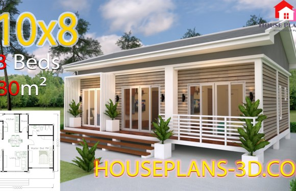 House Design Plans 10×8 with 3 Bedrooms Gable Roof