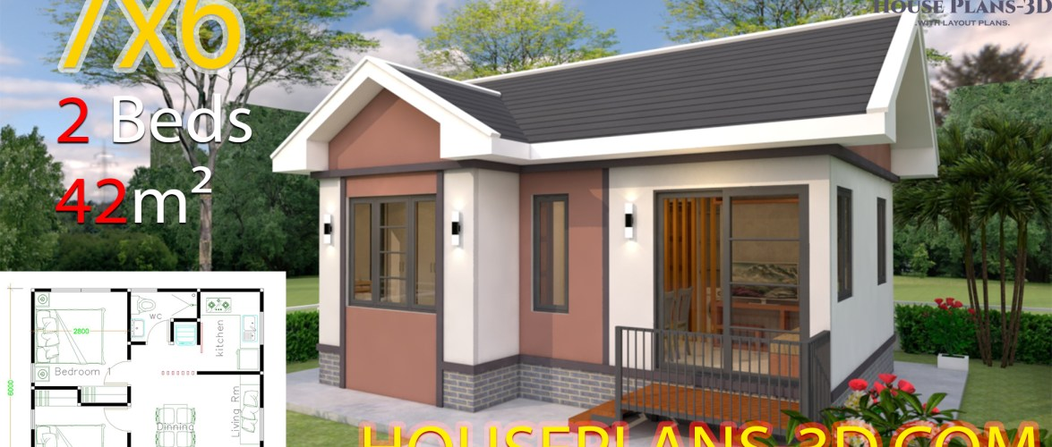 House Design 7×6 with 2 Bedrooms Gable Roof