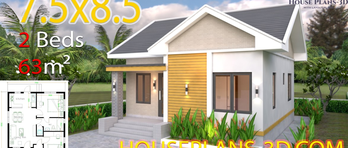 House Design plans 7.5×8.5m with 2 bedrooms Gable roof