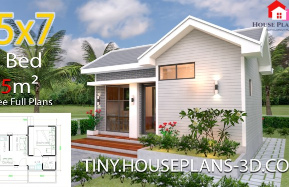 Small House Plans 5×7 with One Bedroom Gable Roof