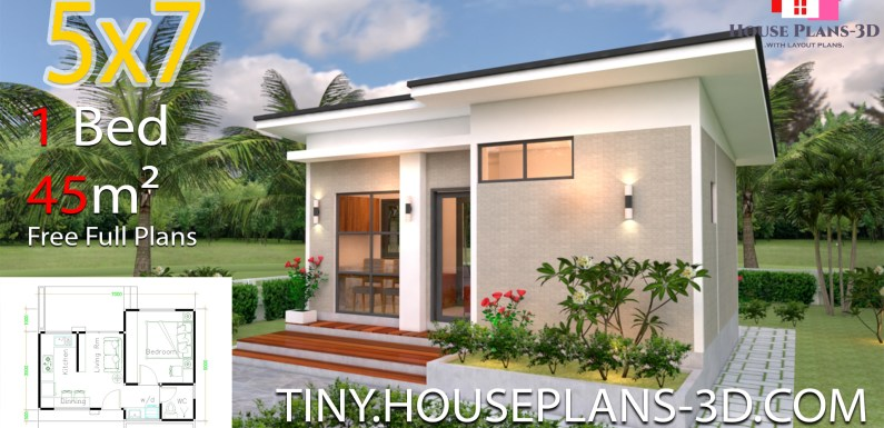 Small Design Plans 5×7 with One Bedroom Shed Roof