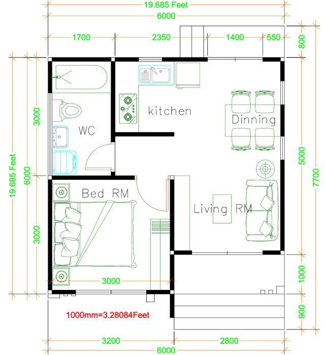 House Design Plans 6x6 With One Bedrooms Hip Roof Samphoas Plan