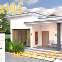 House Plans 10.7x10.5 with 2 Bedrooms Flat roof