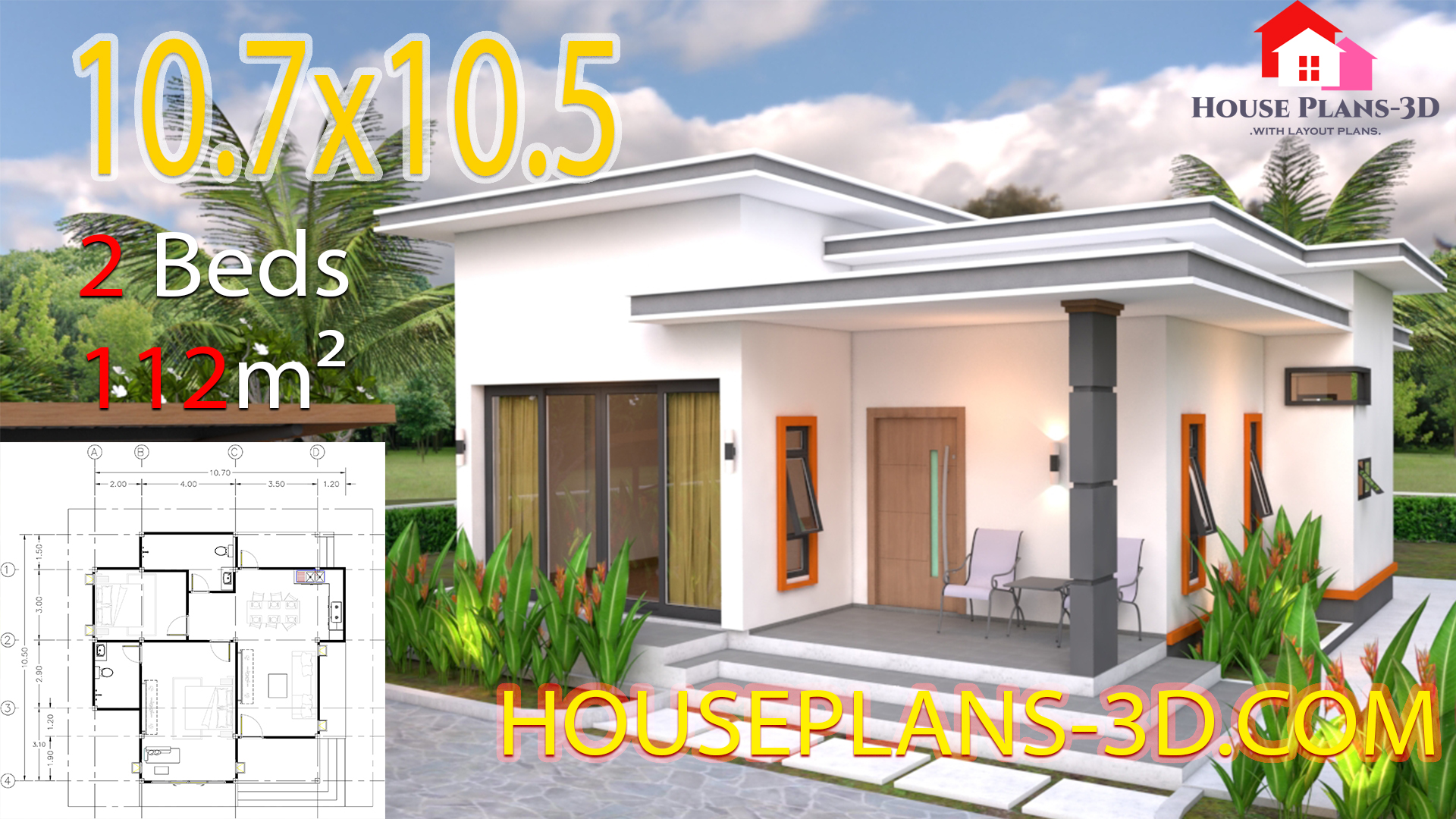 House Plans 10 7x10 5 With 2 Bedrooms Flat Roof Samphoas Plan