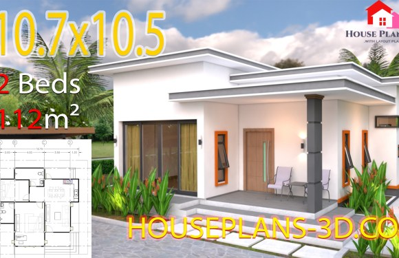 House Plans 10.7×10.5 with 2 Bedrooms Flat roof