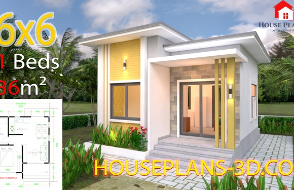 Small House Plans 6×6 with One Bedrooms Flat Roof