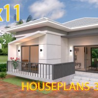 House Design Plans 7.5x11 with 2 Bedrooms Hip roof Full plans