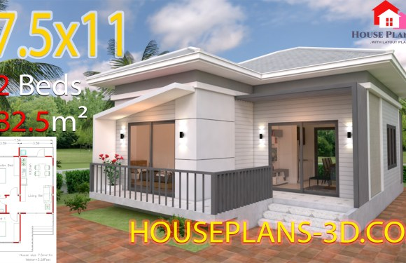 House Design Plans 7.5×11 with 2 Bedrooms Hip roof Full plans