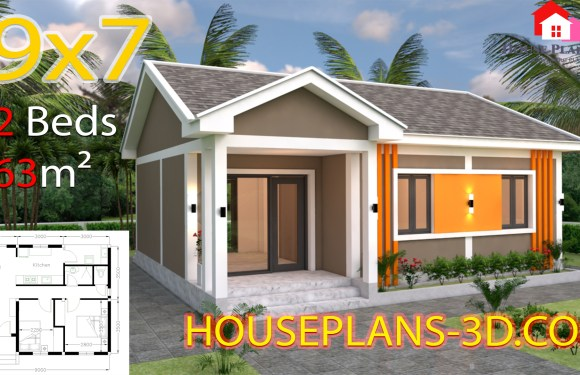 House Design Plans 9×7 with 2 Bedrooms Gable Roof