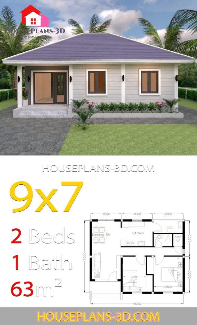 House Design Plans 9x7 with 2 Bedrooms Hip Roof - SamPhoas ...