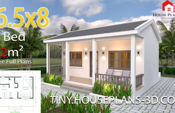 House Plans 6.5×8 with One Bedrooms gable roof