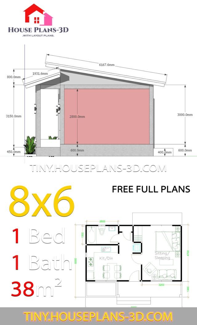 House Plans 8x6 With One Bedrooms Shed Roof Samphoas Plan