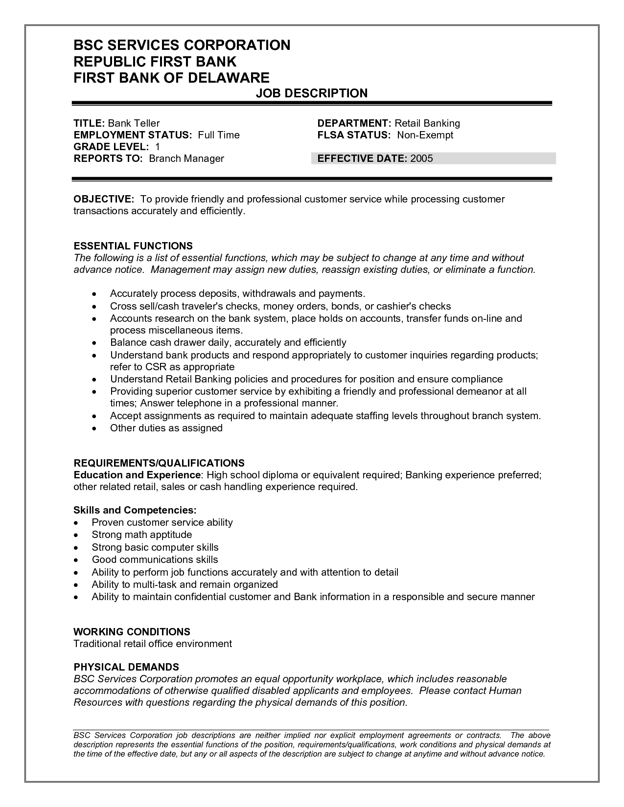 Objective For Teller Resume