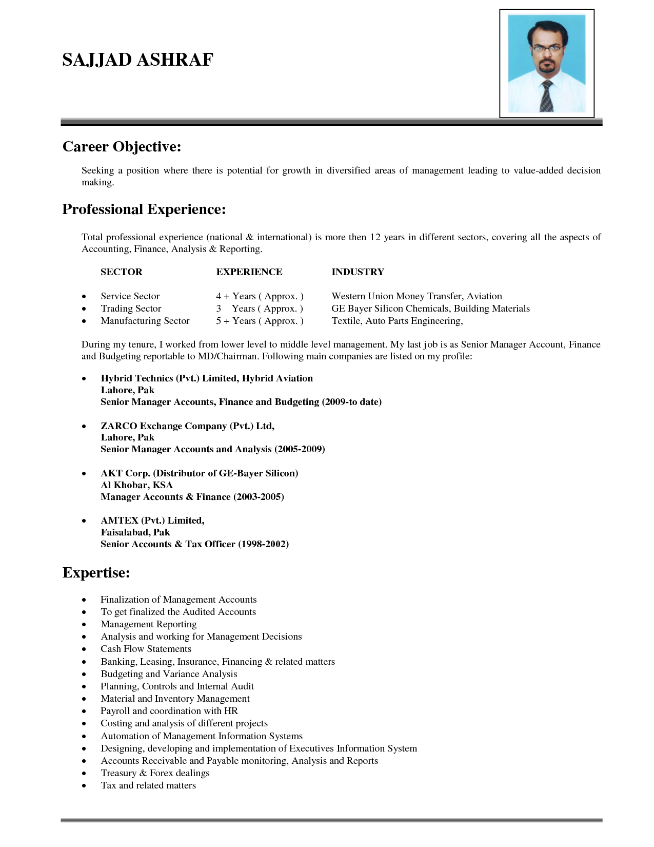 Objective For Business Resume