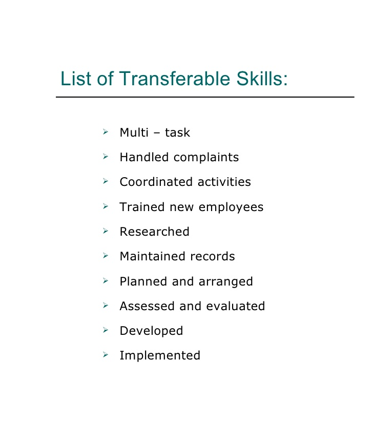 functional transferable skills resume