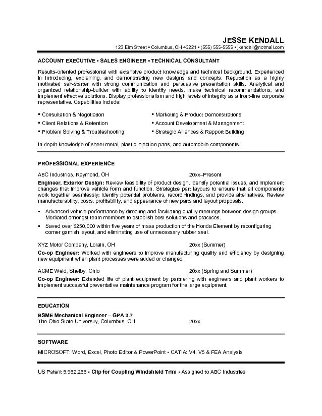 Career Objective Resume Examples For Sales Engineering And