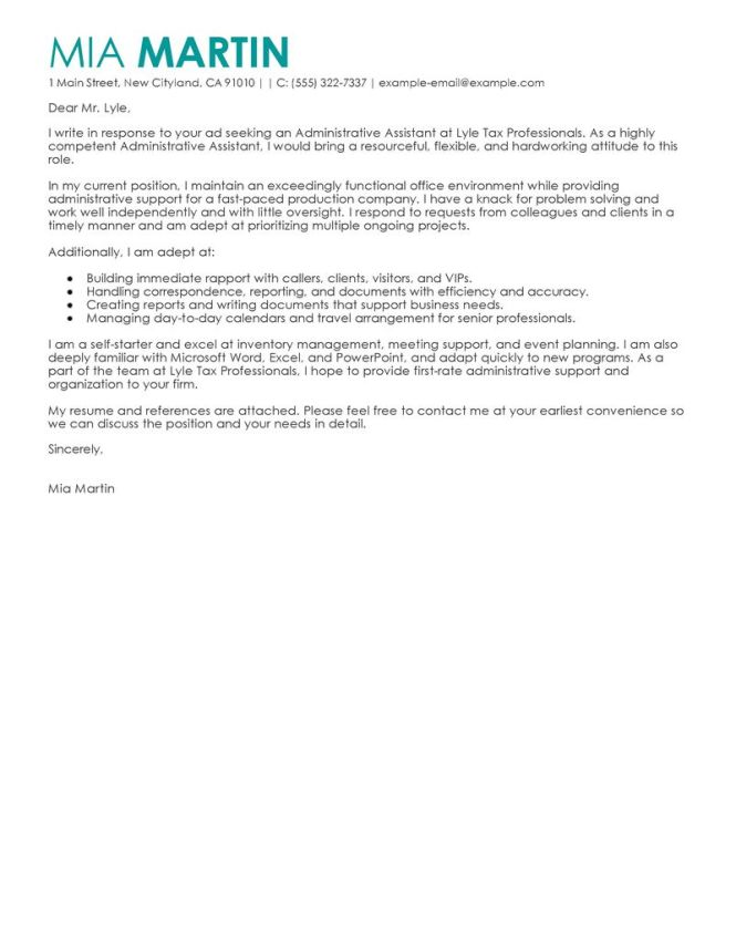 Cover Letter Exle15 Admin Istant