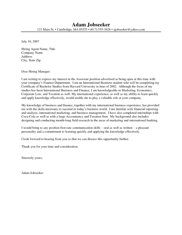 sample of a cover letter for an internship
