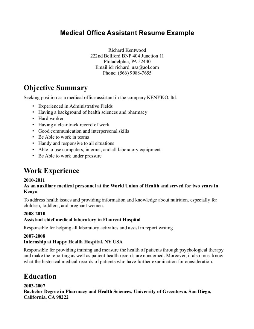 How to write an effective administrative assistant resume objective. Resume Objectives For Medical Office Assistant Medical Assistant Resume Sample