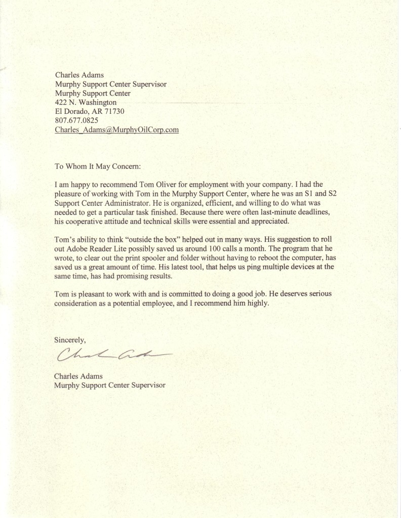 Professional Reference Letter Template Charlie Adams