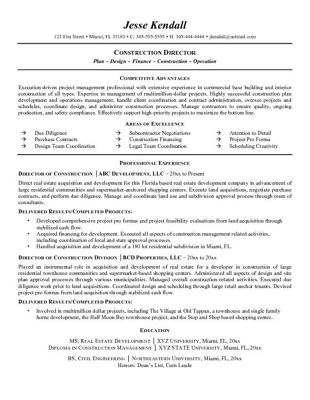 construction resume samples resume sample