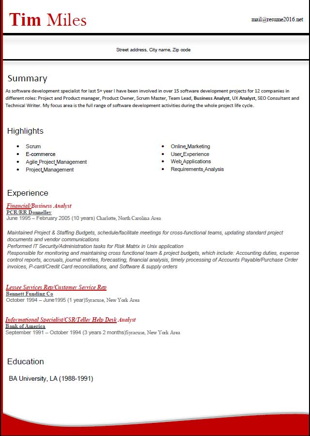 Latest Resume Formats - Resume Sample