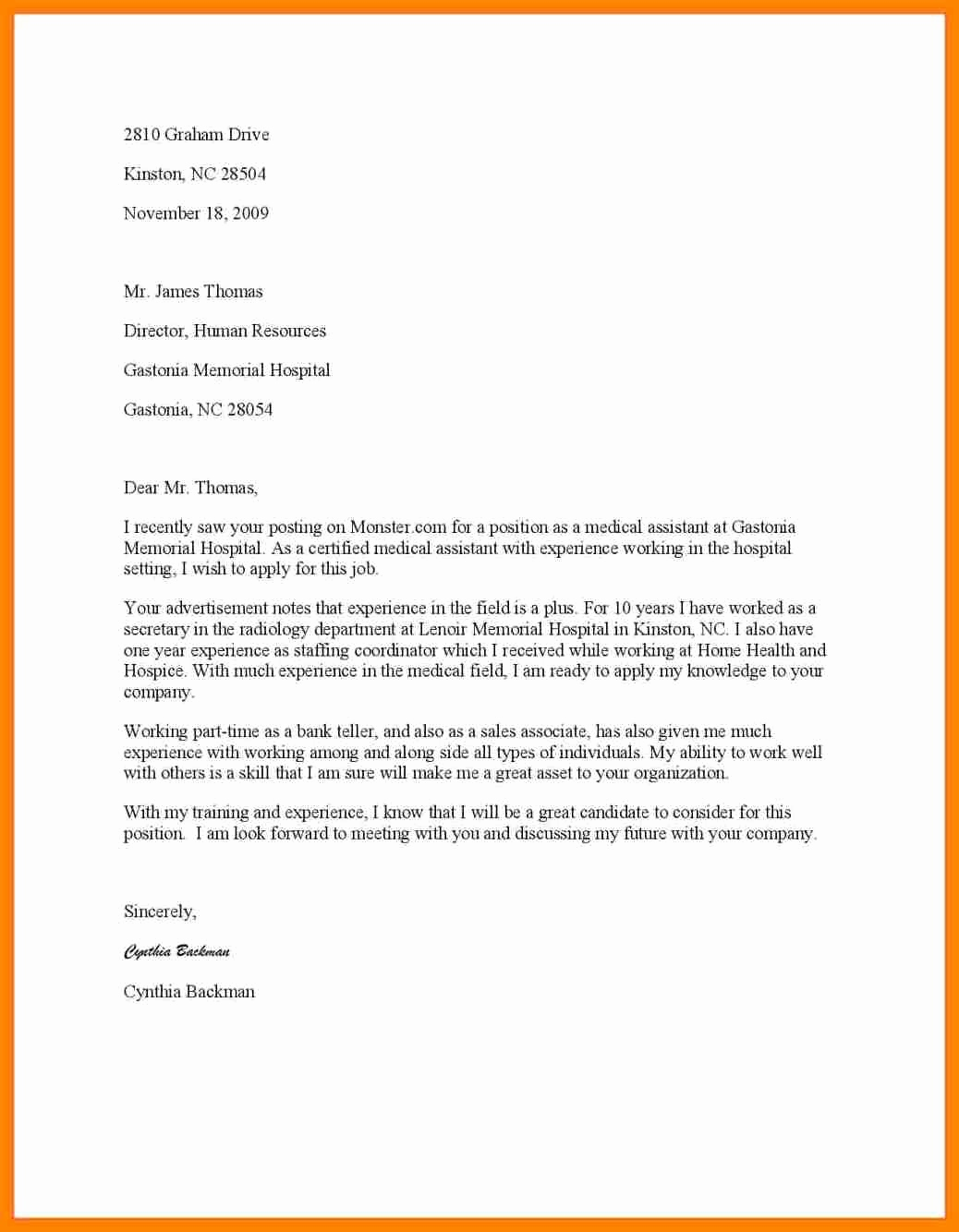 Medical Assistant Cover Letter Samples Beautiful 8 Medical