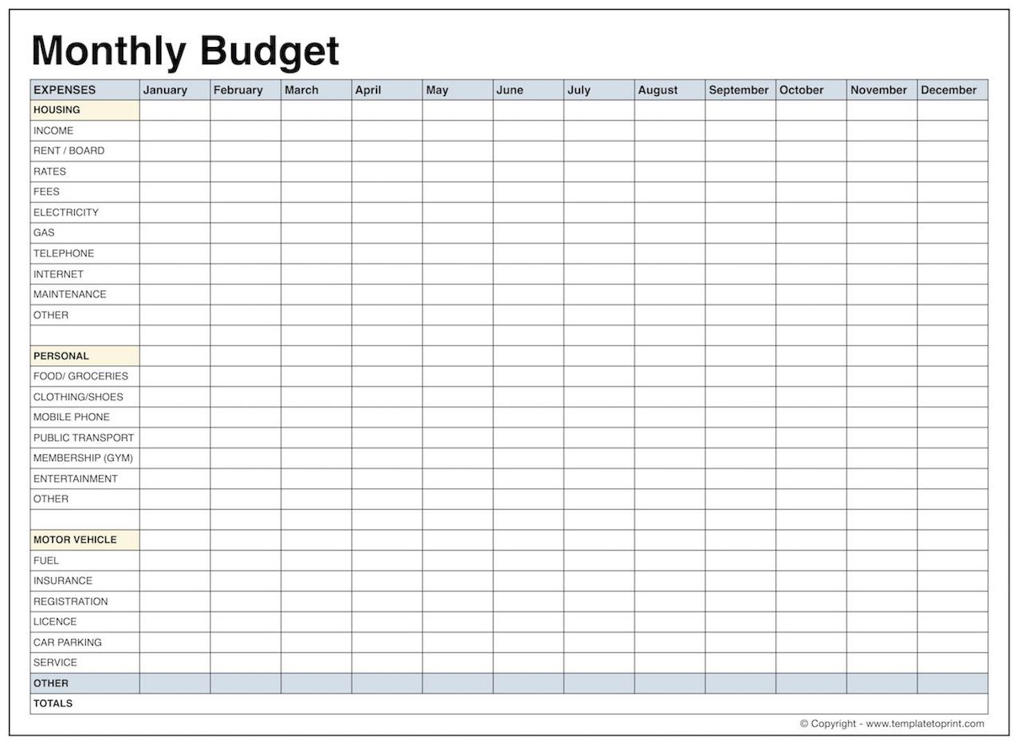 Blank Monthly Budget Template