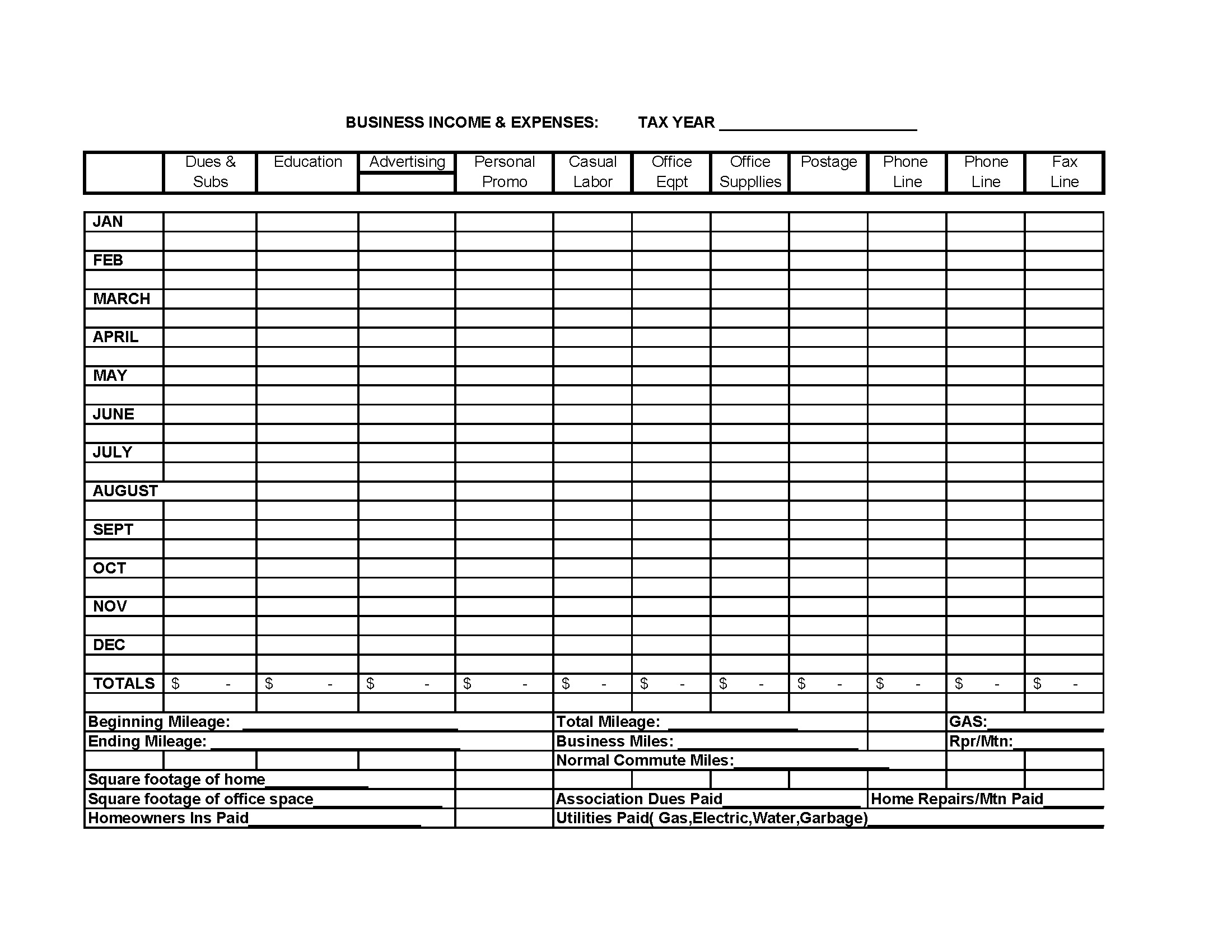 Monthly Business Expense And Income Template