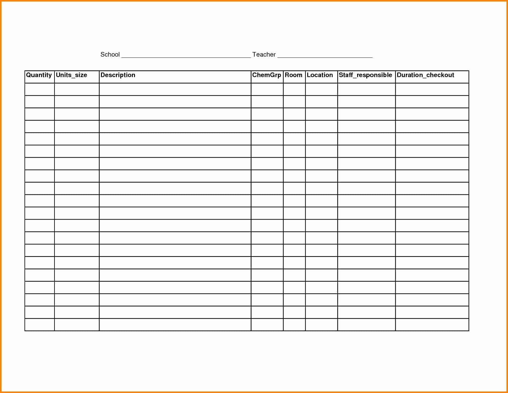 Blank Inventory Sheets Printable Fresh Printable Blank