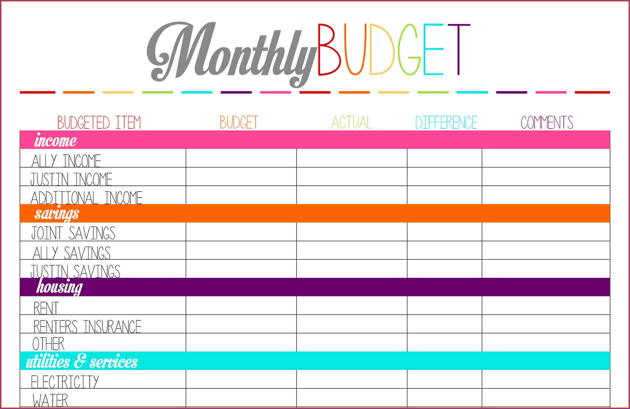 Free Printable Budget Sheet Monthly