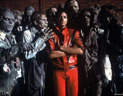 Michael Jackson on the set of Thriller