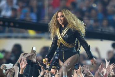 Feb 7, 2016; Santa Clara, CA, USA; Beyonce performs at halftime in Super Bowl 50 between the Carolina Panthers and the Denver Broncos at Levi's Stadium. Mandatory Credit: Robert Hanashiro-USA TODAY Sports