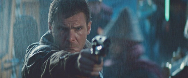 Harrison Ford as Rick Deckard, pointing a gun