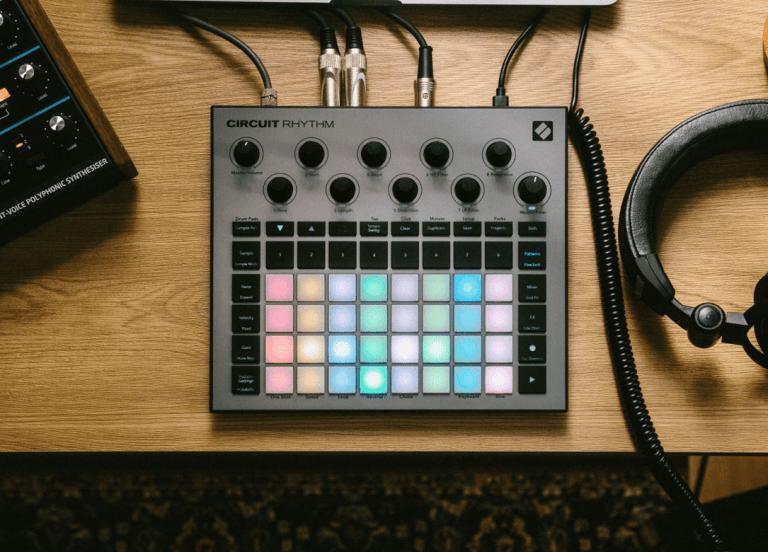 Novation's Circuit Rhythm on a desk